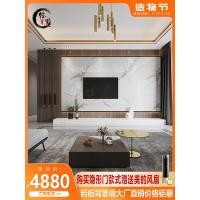 轻墨客厅电视背景墙瓷砖现代轻奢悬空岩板大板大理石影视墙网红款